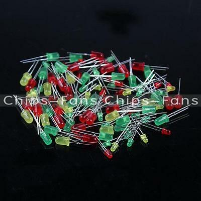 100PCS Round Head Light Emitting Diode LED 3mm 5mm Red Green Yellow Mix Color UK