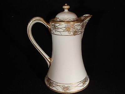"Vintage Coffee / Hot Chocolate Pot - Nippon - 9""Tall - Hand Painted - Floral"