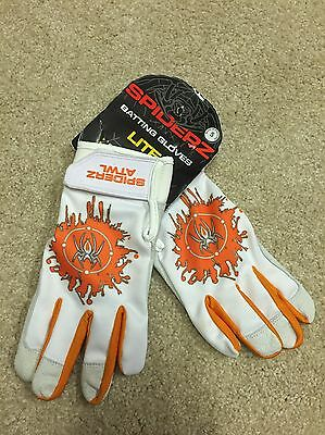 "Spiderz PRO Batting Gloves Orange/White ""ATWL"" Adult Small (S) Baseball Softball"