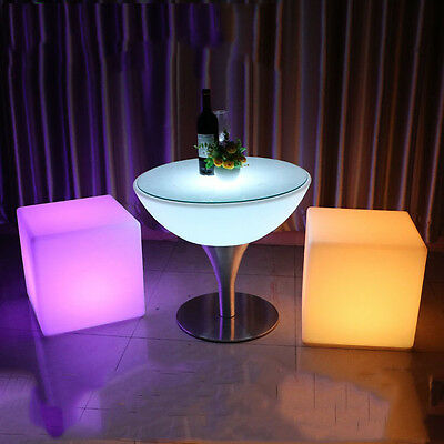 New! Led Color Cube Ottoman/stool/end Table -  Light Chair - Glowing Box