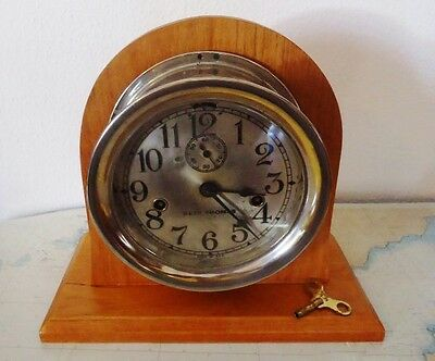 """Us """"Phoenix"""" Navy Seth Thomas Clock 36 Hour Double String In Crafts Wooden Stand"""