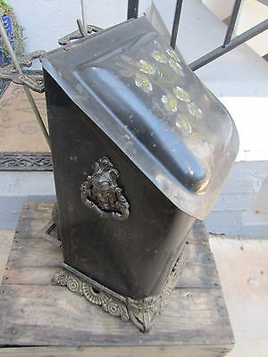 Antique Floral Tole Ware hand painted Victorian Coal Scuttle Fireplace bin tools