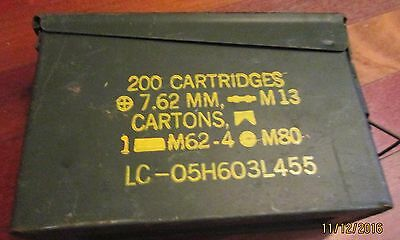 Vintage Military Metal Ammo Box / Can 200 Cartridges 7.62MM NATO M80 M13 Empty
