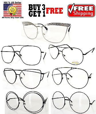 Gold Silver Black Metal Frame Clear Lens Glasses Shades Many Styles To Choose!!