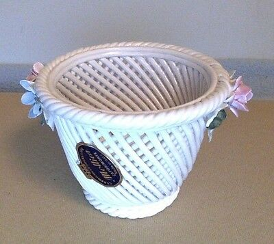 Capodimonte Porcelain Floral Woven Basket. Small. White. Pink Blue Flowers.