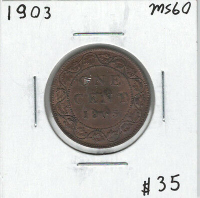 Canada 1903 Large 1 Cent MS60 Trace Red