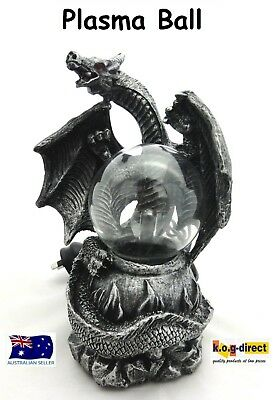 Gothic Black And Silver Dragon With Plasma Ball Electric Hw-41