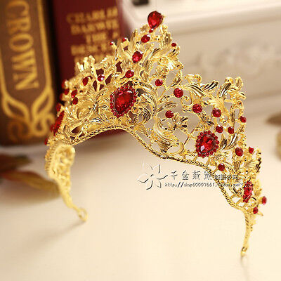 New Golden Crystal Queen Crown Tiara Bridal Wedding Headband Hair Accessories