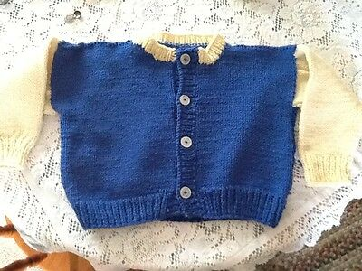 Child's Hand Knit Sweater Blue and Cream