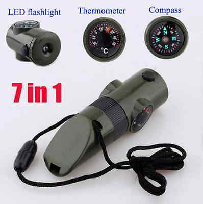 7in1 Military Emergency Survival Whistle Compass Light Thermometer Army Green US