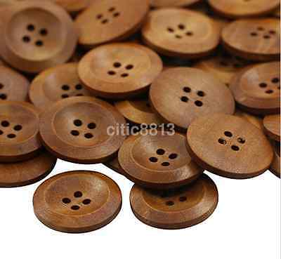 50pcs Large Size 25mm Coffee Round Wood Buttons 4 Holes Craft Sewing Button CA