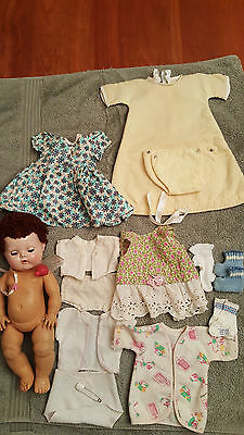 """1950's Tiny Tears Doll 11.5""""  w/ Caracul Wig + Orig Clothing + Accessories"""