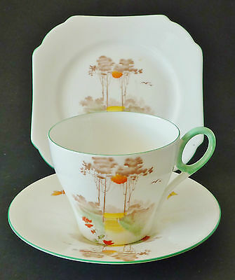 *SHELLEY bonechina trio ART DECO Hand painted o/transfer cup saucer plate AUTUMN
