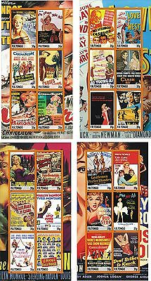 Marilyn Monroe Movies Poster 4 Souvenir Sheets Mnh Imperforated