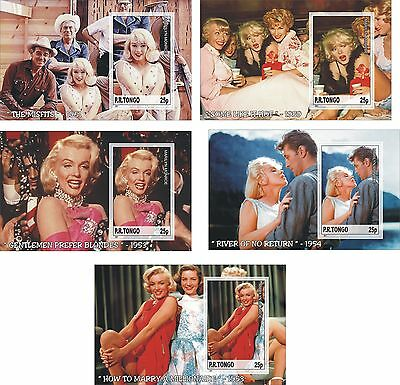 Marilyn Monroe Movies 5 Souvenir Sheets Mnh Imperforated