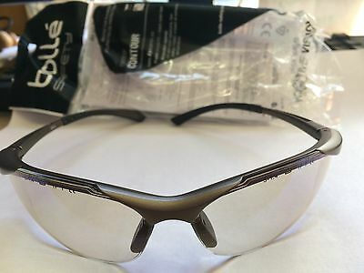 Bolle Safety Glasses - Contesp Contour Clear Base With Blue Mirror Polycarbonate