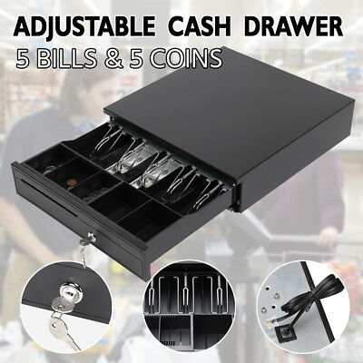 New Heavy Duty Electronic Cash Drawer Cash Register POS 5 Bills 5 Coins Tray AU
