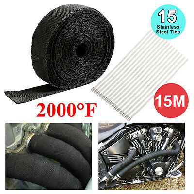 Exhaust Heat Wrap 50Mm X 15M + 15 Stainless Steel Ties 2000F Fiberglass Black