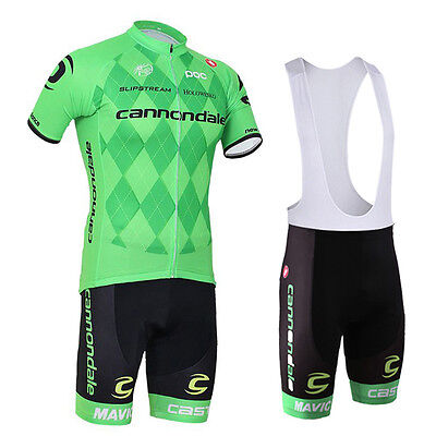 New Fashion Mens Cycling Short Sleeve Jersey Bib Padded Shorts Outfits Green