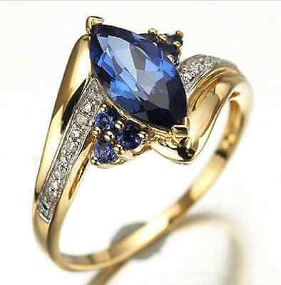 Womens Blue Sapphire Gold Filled Engagement Wedding Rings Size 6,7,8,9,10 RING