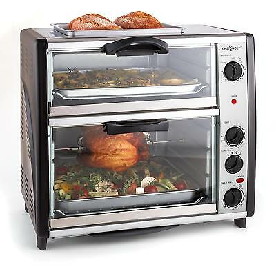 New Large Double Oven 42 Liter 2 Chambers Automatic Kitchen Rotisserie Grill