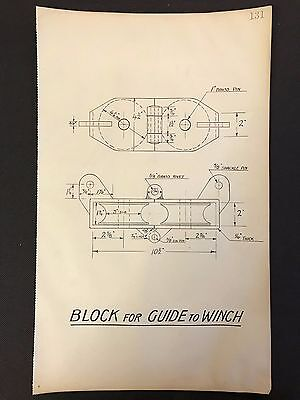 Harland & Wolff - 1930's Original Eng. Drawing, BLOCK FOR GUIDE TO WINCH  (P131)