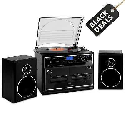 Turntable Stereo Speaker System Twin Tape Deck Cd Player Usb Sd Mp3 Vinyl Record