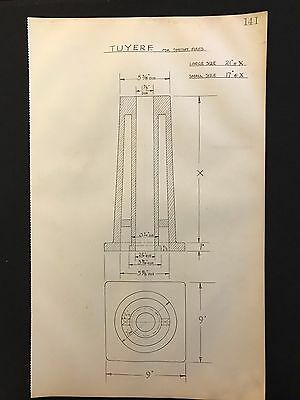 Harland & Wolff - 1930's Original Eng. Drawing, TUYERE FOR SMITHY FIRES  (P141)