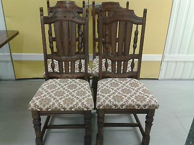 4 antique dining chairs,solid oak,carved legs & backs,leather cushion,no table