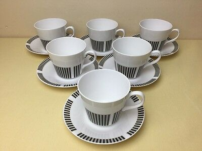 Vintage Royal Osborne Caprice 6 x Cups & Saucers Lovely Condition