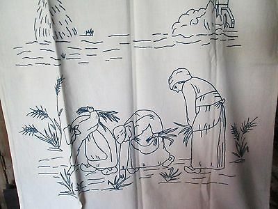 """Antique over  towel embroidered on white linen, blue work""""Arenless """"from Millet'"""