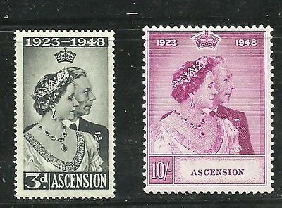 Ascension Islands 1948 Silver Wedding Lightly  Mounted Mint Set