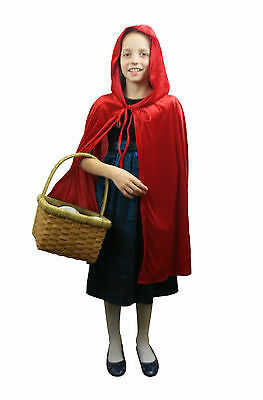 Girls Velveteen Little Red Riding Hood Fancy Dress Costume Kids Book Day Outfit