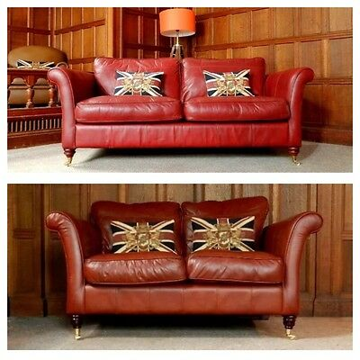 Pair Of Victorian Style Brandy Tan Leather Chesterfield Suite 2 & 3/4 Seat Sofas