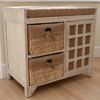 Hallway Storage Bench Seat Vintage Shoe Baskets Drawer Cabinet Hall Cupboard