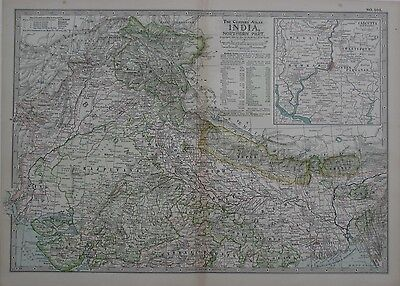 ORIGINAL 1897 MAP NORTHERN INDIA Delhi Agra Bhopal Calcutta Kashmir Nepal  Lahore