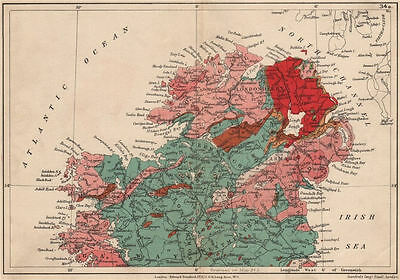 NORTHERN IRELAND Geological map. STANFORD 1913 old antique plan chart