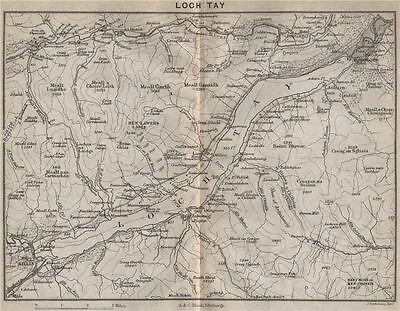 Loch Tay. Scotland 1886 old antique vintage map plan chart