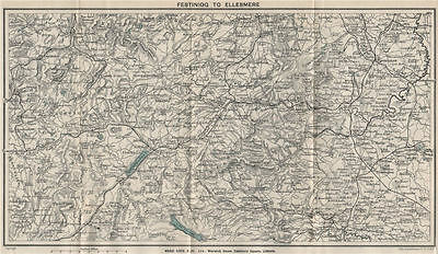 NORTH CENTRAL WALES. Ellesmere Bala Llangollen Wrexham Oswestry 1913 old map