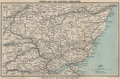 PERTH & EASTERN HIGHLANDS. Dundee Aberdeen. Forfar. Forest of Atholl 1919 map