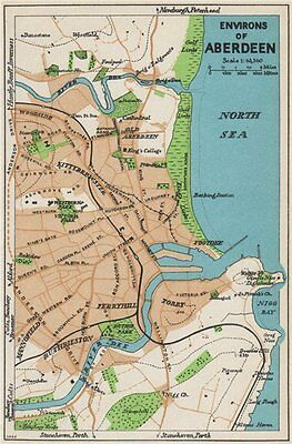 ENVIRONS OF ABERDEEN. Vintage town city map plan. Scotland 1959 old