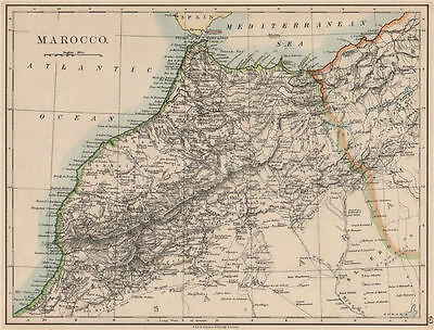 MOROCCO. Showing Atlas mountains rivers towns. Marrakech. JOHNSTON 1895 map