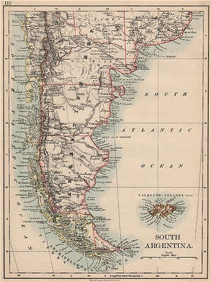 PATAGONIA. Southern Argentina & Chile. Falkland Islands. JOHNSTON 1895 old map