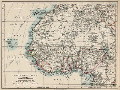 COLONIAL WEST AFRICA. Tribal areas. Caravan routes. Niger Coast Prot. 1903 map