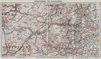 NORTH CENTRAL WALES. Ellesmere Bala Llangollen Wrexham Oswestry 1935 old map