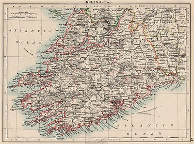 MUNSTER.  Clare Cork Kerry Limerick Waterford &c.SW Ireland. JOHNSTON 1903 map