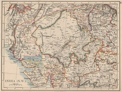 BRITISH INDIA NW. Rajputana (Rajasthan) Sindh Gujarat Malwa.  JOHNSTON 1895 map