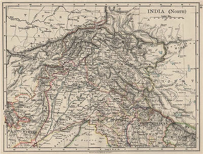 BRITISH INDIA NORTH. Jammu Kashmir Punjab Himalayas. JOHNSTON 1900 old map