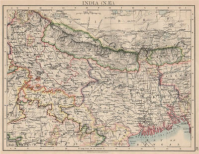 BRITISH INDIA NE. Bengal Nepal Bhutan Calcutta Bangladesh. JOHNSTON 1895 map