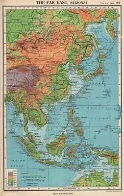 THE FAR EAST PHYSICAL. East Asia East Indies. BARTHOLOMEW 1952 old vintage map